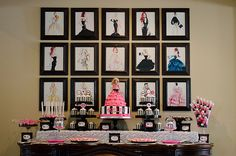 """Bella's Barbie Fifth Birthday :: Featured Party The idea of using different """"fashion"""" images as a backdrop would work great for a project runway party - Agenda De La Défilé Barbie Theme Party, Barbie Birthday Party, Birthday Fashion, Girl Birthday, Fourth Birthday, Bolo Barbie, Fashion Show Party, Paris Birthday Parties, Festa Party"""