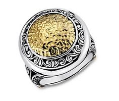 Balinese Circle Ring in Sterling Silver and 18k Yellow Gold Center