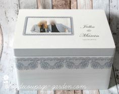 Personalized Lace Handmade wedding box with names and date, wedding gift newlyweds and anniversary, Wedding Gift