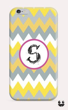 iPhone Case iPhone 4 Case & iPhone 4S, Case iphone 5 Case & iPhone 5S Case, iPhone 5C Case, iPhone 6 Case & iPhone 6, Plus  Yellow Gray Chevron Monogram