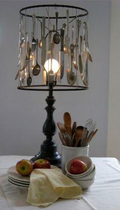 Gebruik je oude bestek...voor een leuke lamp