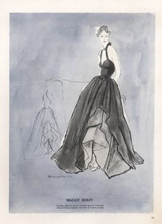 Maggy Rouff (Couture) 1947 Bernard Blossac, Evening Gown by Bernard Blossac