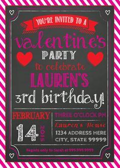 VALENTINE'S PARTY INVITATION valentines birthday by SLDESIGNTEAM