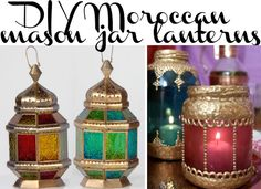 DIY Moroccan lanterns made from plain ol' mason jars!! Great for budget party decorating.