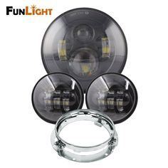 """94.99$  Watch now - http://alit1h.worldwells.pw/go.php?t=32763798064 - """"7"""""""" Motorcycle Black Projector LED Light Bulb Headlight For Harley Motos with 7"""""""" Headlight Bracket +  4.5"""""""" Passing led Fog Lamp"""""""