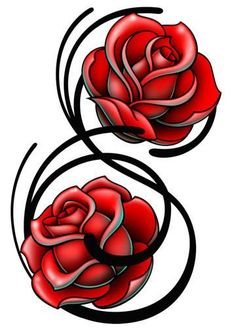 Double Roses-Just 4 Girls Temporary Tattoo Girly Skull Tattoos, Feminine Tattoos, Rose Tattoos, Tatoos, Heart Tattoos, Rose Tattoo Stencil, Tattoo Catalog, Unique Tattoos For Women, Upper Back Tattoos