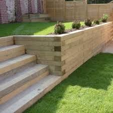The use Railway Sleepers can make a huge difference to your landscaping project…. The use Railway Sleepers can make a huge difference to your landscaping project. Use them to create borders, walls, garden steps and Relevantly cheap to buy Landscaping Retaining Walls, Backyard Landscaping, Garden Retaining Walls, Landscaping Ideas, Back Gardens, Outdoor Gardens, Railway Sleepers Garden, Oak Sleepers, Sleeper Retaining Wall