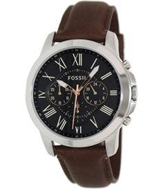 Fossil Men's Grant FS4813 Brown Leather Leather Quartz Watch