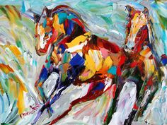 Abstract impressionism Wild Horses painting by Karensfineart