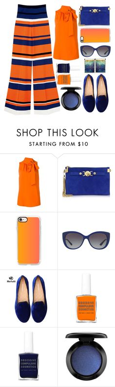 """""""Vogue pants"""" by juliehalloran ❤ liked on Polyvore featuring Boutique Moschino, Versace, Casetify, Bulgari, Polaroid and MAC Cosmetics"""