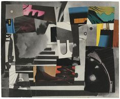 """Untitled. Paper collage mounted on plexi, 7"""" x 8-1/2"""" (17.8 cm x 21.6 cm)."""