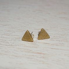 Gold Glitter Mini Triangle Polymer Clay Stud by LittlestOven
