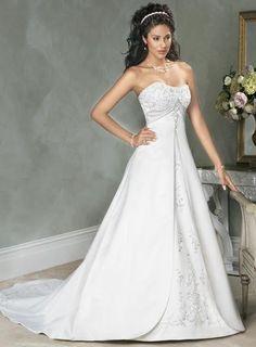 White Strapless Embroidery Satin A-line/princess Wedding Dress .