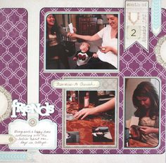 Friends Vintage Chic Scrapbook Layout Idea from Creative Memories, Vintage Chic Paper and Embellishments, Detailed instructions: http://projectcenter.creativememories.com/photos/our_newest_project_ideas/friends-vintage-chic-scrapbook-layout-idea.html