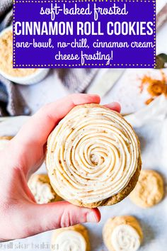 These soft-baked cinnamon roll cookies are thick, chewy, and gooey with tons of caramel brown sugar and warm cinnamon flavor! Topped with a cinnamon-sugar sprinkle and a sweet cream cheese frosting, they're one-bowl, no-chill, and take only 30 minutes!