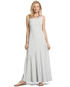 Chico's Women's Metallic-Striped Maxi Dress
