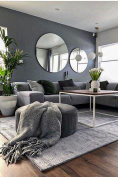Such a beautiful living room🖤👉🏻 House Doctor Mirror, Walls, Clear available in our webshop! Living Room Grey, Living Room Modern, Living Room Interior, Home Living Room, Living Room Designs, Living Room Decor, Small Living, Cozy Living, Kitchen Living