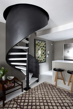 Black and White Spiral Stairs / designed by Maurício Arruda