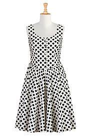 Polka dot print cotton dress (love. just wish it wasn't button front)