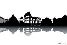 """Descargue el vector libre de derechos """"Rome skyline - black and white vector illustration"""" creado por Ilyes Laszlo al precio más bajo en Fotolia.com. Explore nuestro económico banco de imágenes para encontrar el vector perfecto para sus proyectos de marketing."""