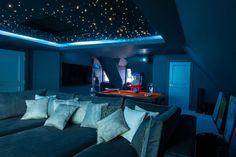 Check out this beautiful home cinema installation carried out in an awkward loft conversion room. Contact us today for luxury home cinema installation! Cinema Room Small, Home Cinema Room, Modern Teen Bedrooms, Modern Room, Loft Conversion Rooms, Basement Conversion, Movie Theater Rooms, Attic Theater, Attic Rooms