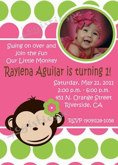Monkey love birthday photo invite 1 year old 2 years old party mod monkey invitation digital and printable invite in 4x6 or 5x7 stopboris Images