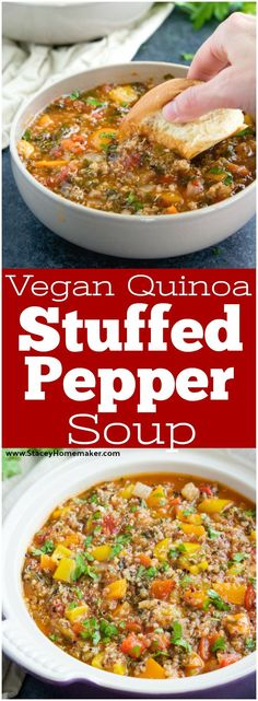 This easy stuffed pepper soup recipe has everything you love about stuffed peppers without all the fuss! No stuffing, no baking, just put the ingredients into the pot and let it cook + instructions to make it in the slow cooker! Vegan, dairy-free, gluten-free.