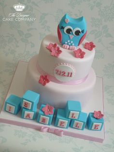 Cute owl christening cake