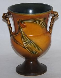 Roseville Pottery Pine Cone Brown Vase 908-8