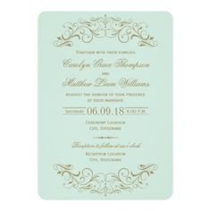 Mint Green and Gold Flourish Wedding Invitations. Elegant vintage inspired swirls in a pastel mint blue green and antique gold color theme. Artwork designed by Plush_Paper