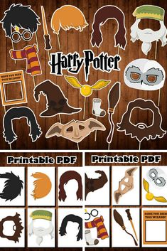 Printable Harry Potter photo booth props - these would be so fun! #afflink #photobooth #party