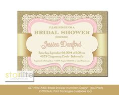 Bridal shower invitation antique style vintage style by starwedd pink and champagne gold bridal shower invitation with vintage lace burlap choice of digital file filmwisefo Image collections