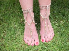 Gold Barefoot Sandals - Hand Crocheted, £10.99