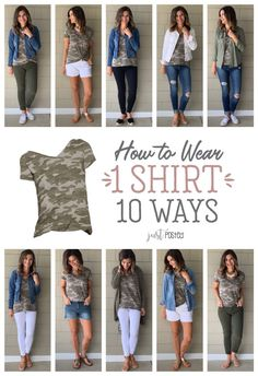 How to Wear 1 Camo Tee 10 Different Ways How to Wear 1 Camo Shirt 10 Different Ways - This camp shirt is so affordable and easy to dress up, dress down and style in so many different ways! Perfect camo tee for spring or summer and for a capsule wardrobe. Look Fashion, Autumn Fashion, Fashion Outfits, Travel Outfits, Ankara Fashion, Ladies Fashion, Fashion Tips, Camo Shirt Outfit, Black Joggers Outfit