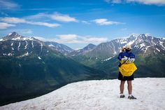 """Ahh.. Alaska!""...LeLinda on top of Alyeska enjoying the Chugach Mountains.    http://freespiritwear.com/blog/?p=1074"