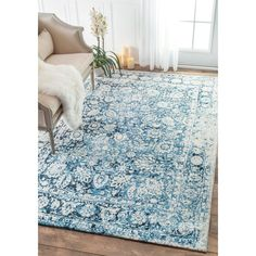 blue rug – Home Interior Rugs Floral Area Rugs, Blue Area Rugs, Blue Rugs, Light Blue Area Rug, Modern Farmhouse Design, Farmhouse Rugs, Farmhouse Curtains, Up House, Rugs Usa