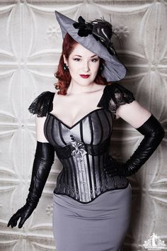 Gray and Black Underbust Corset Gray Pencil skirt Gray Satin Bra and Black Leather Gloves Burlesque, Steampunk Fashion Women, Toronto, Girls Twitter, Steam Girl, Grey Pencil Skirt, Gray Skirt, Lace Tights, Long Gloves