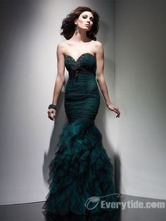 Wholesale Chic Hot Trumpet / Mermaid Sweetheart Floor Length Soft Tulle Evening Dress / Prom Dress 2011 Hot