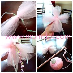 """I like how the ribbon hangs off the top of the stick. Then you can just do some tulle and flower or whatever on top. This picture also shows how to make a tulle """"cross"""""""