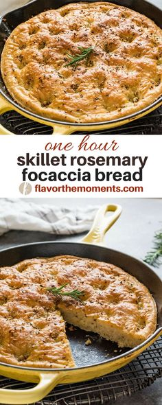 One Hour Rosemary Focaccia Bread is classic focaccia bread made in a cast iron skillet in only one hour. It's thick, fluffy and perfect every time! bread One Hour Rosemary Focaccia Bread Pan Focaccia, Focaccia Bread Recipe, Rosemary Focaccia, Garlic Bread, Cast Iron Recipes, Easy Bread Recipes, Cooking Recipes, Cooking Pork, Cast Iron Skillet Recipes Vegetarian