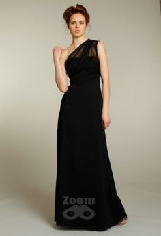 A-Line Black Satin One Shoulder With Wide Straps Empire Waist Pleated Bodice Floor Length Bridesmaid Dresses/Formal Dresses/Long Prom Dresses Black Bridesmaid Dresses, Wedding Bridesmaid Dresses, Prom Dresses, Formal Dresses, Mannequin, Special Occasion Dresses, Look Fashion, Evening Dresses, Dress Up