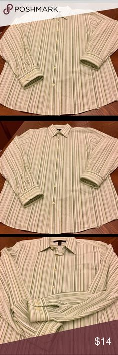Men's Express Dress Shirt Men's Express Design Studio Long Sleeve Button Front Dress Shirt, Size L, Regular Fit, White/Green Stripes.  Excellent condition! Express Shirts Dress Shirts