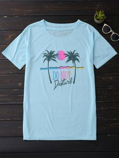 b2d074686 SHARE & Get it FREE | Palm Tree Print Graphic Cut Out Tee - Sky BlueFor