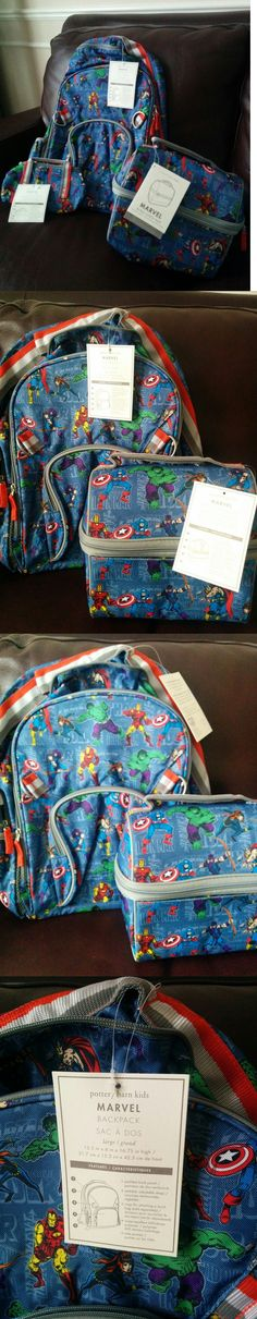 Backpacks and Bags 57882: 3P Pottery Barn Kids Marvel Blue Large Backpack Retro Lunch Bag And Pencil Case -> BUY IT NOW ONLY: $74.35 on eBay!