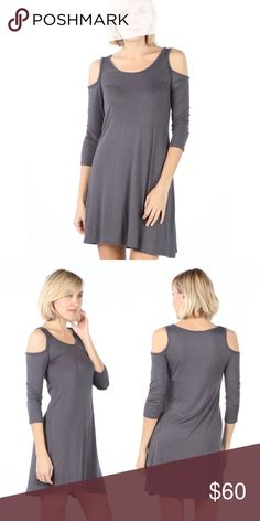 Grey Cold Shoulder Half Sleeve Dress The perfect everyday dress, cute, versatile, and super comfortable. Trendy, cold shoulder style that feels like your favorite t shirt. Dress it up or down, you can easily take this dress from work to weekend. fairlygirly Dresses Long Sleeve
