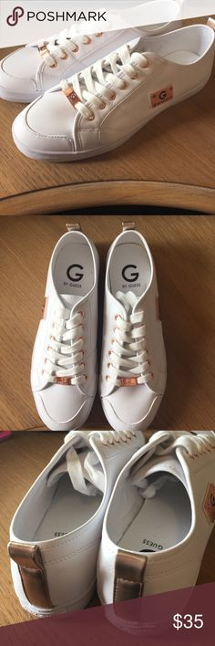 G by Guess shoes BRAND NEW WITHOUT TAGS. NEVER BEEN WORN. G by Guess shoes. Pure white with rose gold metal accents (grommets and name plates). Runs true to size. G by Guess Shoes Sneakers