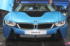 2014 BMW i8 Hybrid Blue Release Front View Wallpaper