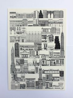 NY architecture by screenprint. Great illustration by Sahar Ghanbari.