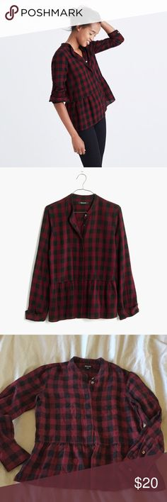 Madewell peplum shirt in buffalo check Beautiful quality linen+ cotton plaid shirt. Rarely worn. The shirt is oversized so xxs feels like xs or s. Pit to pit 18.5in Madewell Tops Button Down Shirts