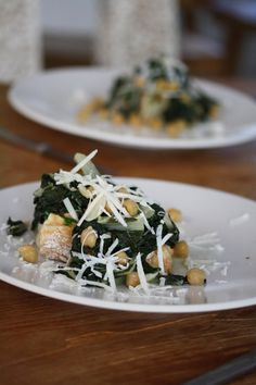Chard & Chickpea Toasts with Scallion Butter -- Big Girls Small Kitchen
